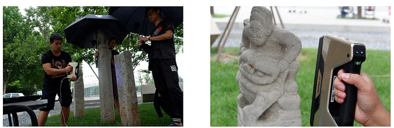 As Professor Wang had already successfully used EinScan-Pro+ in several restoration projects of cultural relics, he immediately thought about using EinScan-Pro+ to fix the hitching post