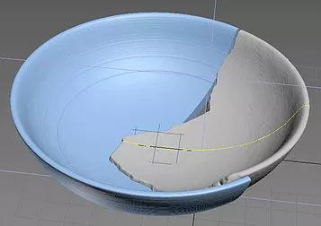 Der Designer stellt den Rest der Artefakte in der 3D-Modellierungssoftware Zbrush wieder her