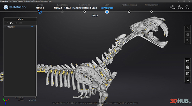 Side view of sculpture in ExScan software